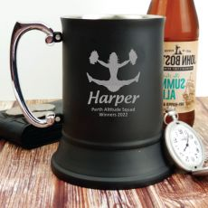 Cheer Coach Engraved Personalised Black Beer Stein Glass
