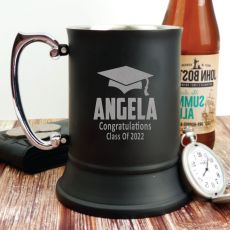 Graduation Engraved Black Beer Stein Glass