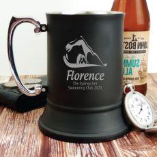 Swim Coach Engraved Personalised Black Beer Stein Glass
