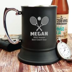 Tennis Coach Engraved Personalised Black Beer Stein Glass