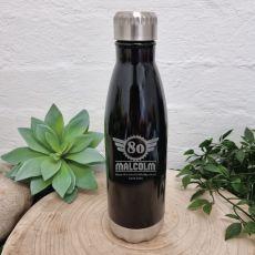 80th Birthday Engraved Drink Bottle Black (M)