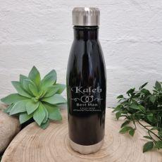 Best Man Engraved Black Drink Bottle