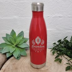 Football Coach Engraved Red Drink Bottle