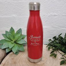 Best Man Engraved Red Drink Bottle