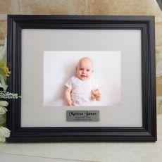 Personalised Christening Frame Black Timber Hathorne 5x7