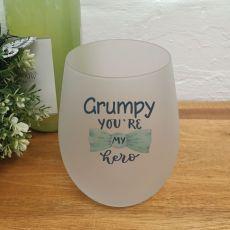 Grandpa Your My Hero Wine Glass Tumbler 500ml