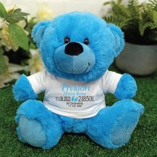 Personalised Baby Birth Details Teddy Bear Bright Blue