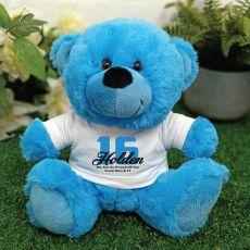 Personalised 16th Birthday Teddy Bear Plush Blue