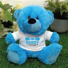 Personalised Dad Bright Blue Teddy Bear