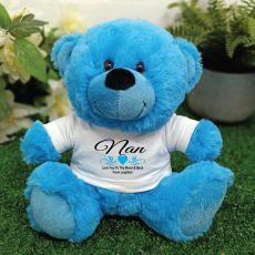 Nana Personalised Teddy Bear Bright Blue
