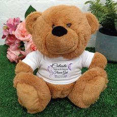 Thank You Flower Girl Teddy Bear Brown Plush