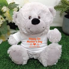 1st Mothers Day Grey Teddy Bear - Personalised