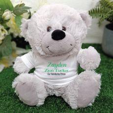 Newborn Personalised Teddy Bear Grey