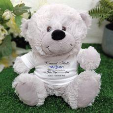 Personalised Baptism Teddy Bear - Grey Plush