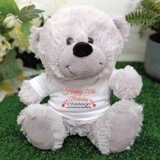 Personalised 70th Birthday Bear Grey Plush