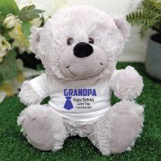 Grandpa  Personalised Teddy Bear Grey Plush