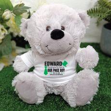 Page Boy Personalised Teddy Bear Grey Plush