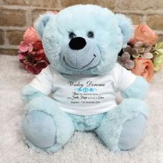 Baptism Personalised Teddy Bear Light Blue Plush