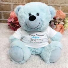 Baptism Personalised Teddy Bear Light Blue Plush