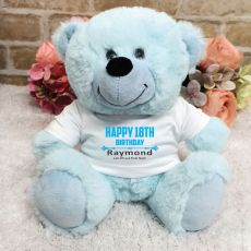 Personalised 18th Birthday Bear Light Blue Plush