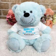 Personalised 21st Birthday Bear Light Blue Plush
