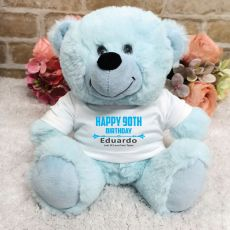 Personalised 90th Birthday Bear Light Blue Plush