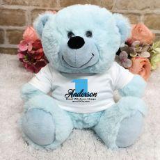 Personalised 1st Birthday Teddy Bear Light Blue