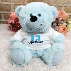 Personalised 13th Birthday Teddy Bear Light Blue