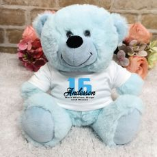 Personalised 16th Birthday Teddy Bear Light Blue