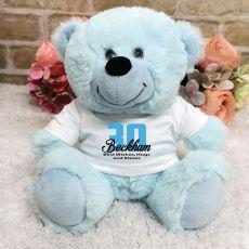 Personalised 30th Birthday Teddy Bear Light Blue