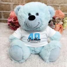 Personalised 40th Birthday Teddy Bear Light Blue
