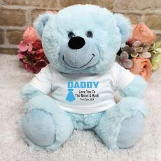 Personalised Dad Light Blue Teddy Bear
