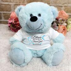 Flower Girl Teddy Bear Plush Light Blue