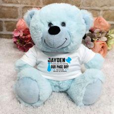 Page Boy Personalised Teddy Bear Blue Plush