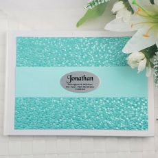 16th Birthday Guest Book Keepsake Album- Aqua Pebble