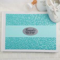 Baby Shower Guest Book Keepsake Album - Aqua Pebble