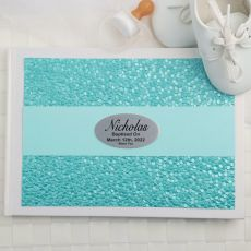 Baptism Guest Book Keepsake Album - Aqua Pebble