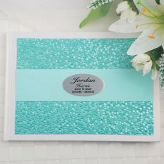 Memorial Funeral Guest Book Keepsake Album- Aqua Pebble