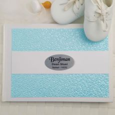 Baptism Guest Book Keepsake Album - Blue Pebble