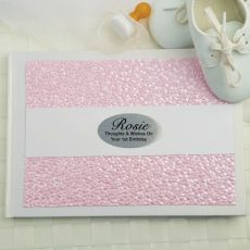 1st Birthday Guest Book Keepsake Album- Pink Pebble