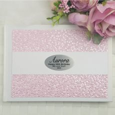 60th Birthday Guest Book Keepsake Album- Pink Pebble