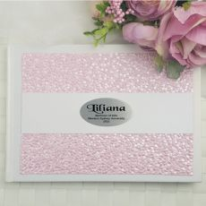 Graduation Guest Book Memory Album- Pink Pebble