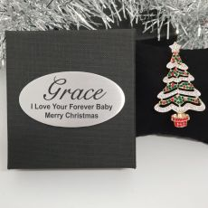 Christmas Brooch in Personalised Box - Tree