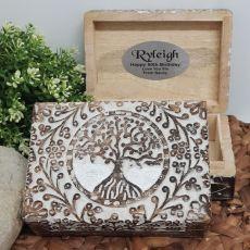 50th Birthday Tree Of Life Boho Carved Wooden Box