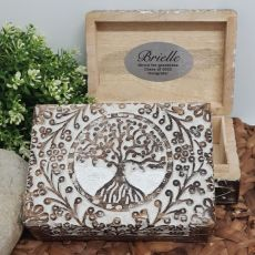 Graduation Tree Of Life Boho Carved Wooden Box