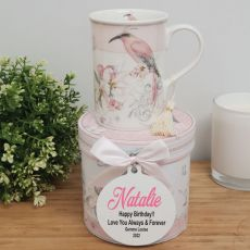 Birthday Mug with Personalised Gift Box - Magnolia Bird