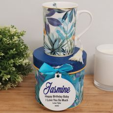 Birthday Mug with Personalised Gift Box - Tropical Blue