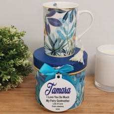 Godmother Mug with Personalised Gift Box - Tropical Blue