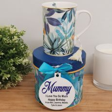 Mum Mug with Personalised Gift Box - Tropical Blue