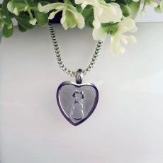 Cat Memorial Urn Cremation Ash Heart Necklace